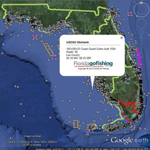 map of florida with reef sites